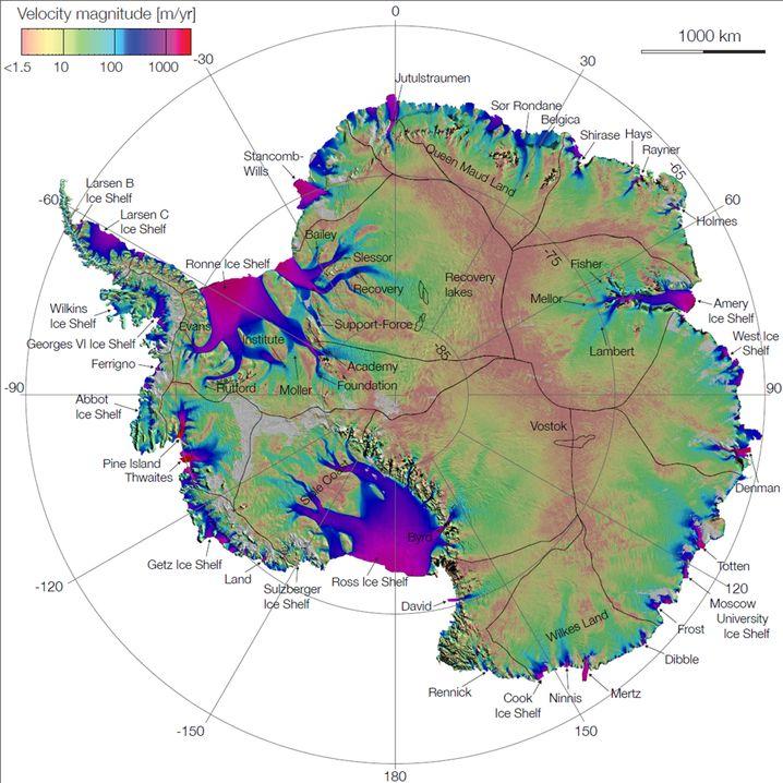 Antarktis: Wilkes-Becken liegt auf der Neuseeland zugewandten Seite (unten, Wilkes Land).