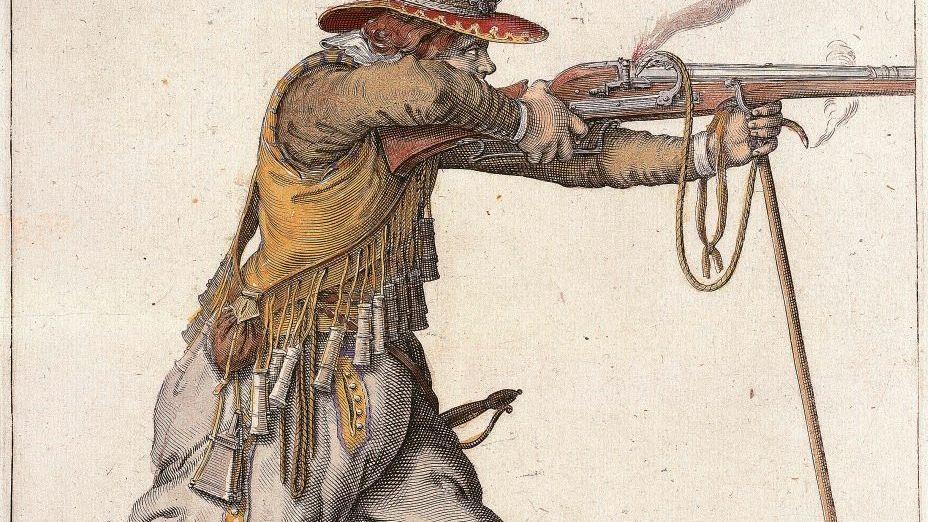 Feuernder Landsknecht Zeitgenössischer Kupferstich von Jacques de Gheyn