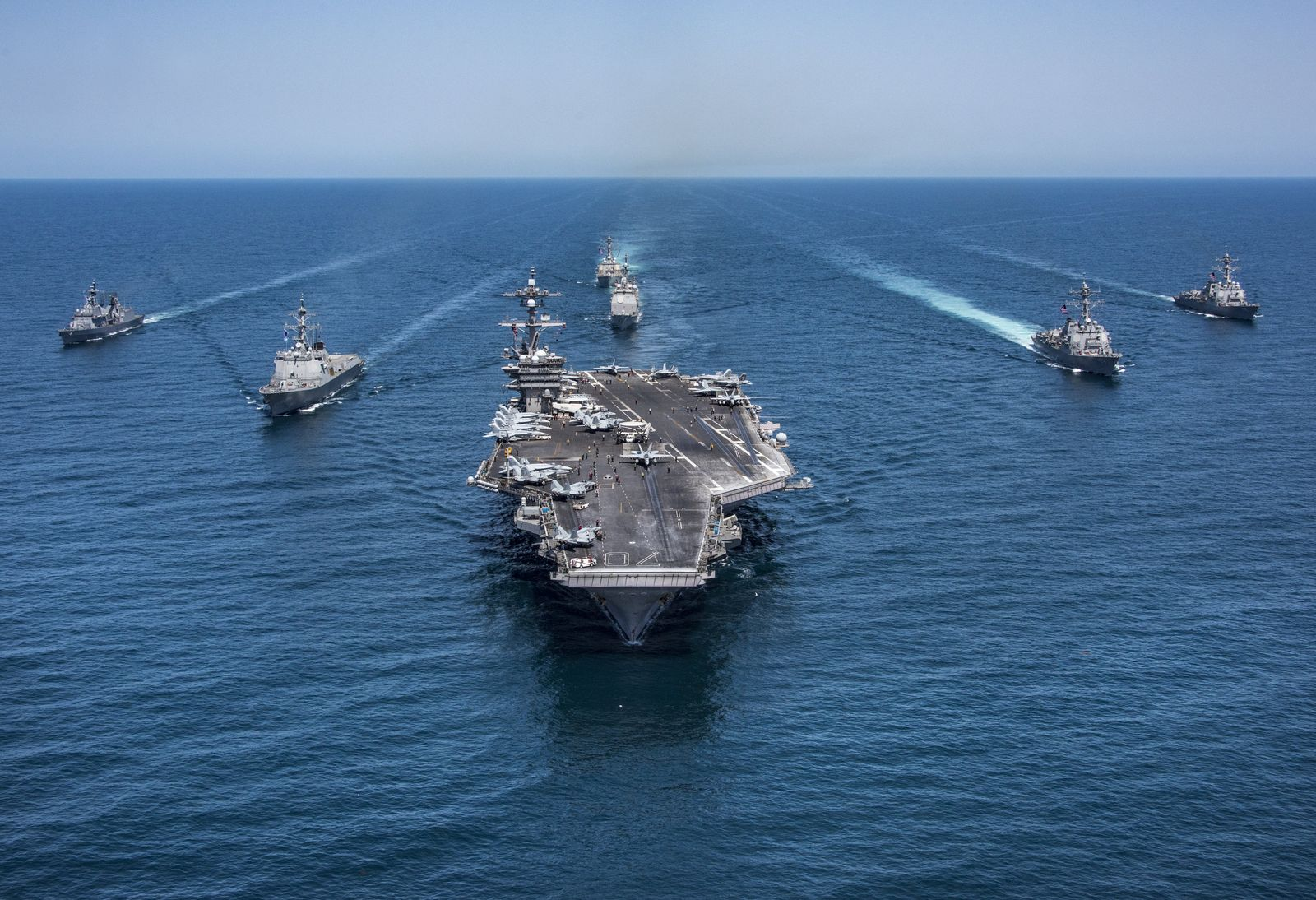 South Korean naval destroyers sail with the U.S. Navy aircraft carrier USS Carl Vinson
