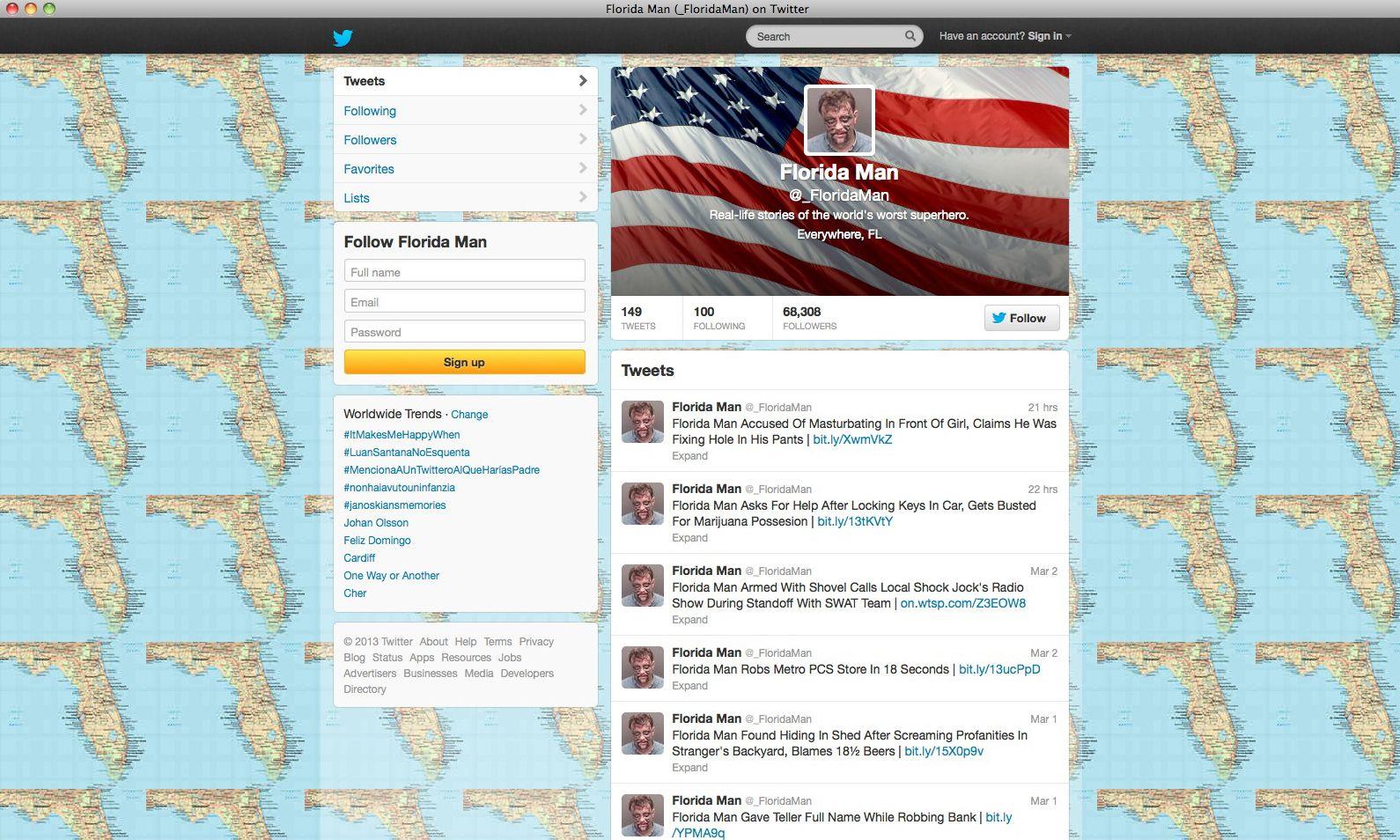 NUR ALS ZITAT Screenshot/ Florida Man/ Twitter