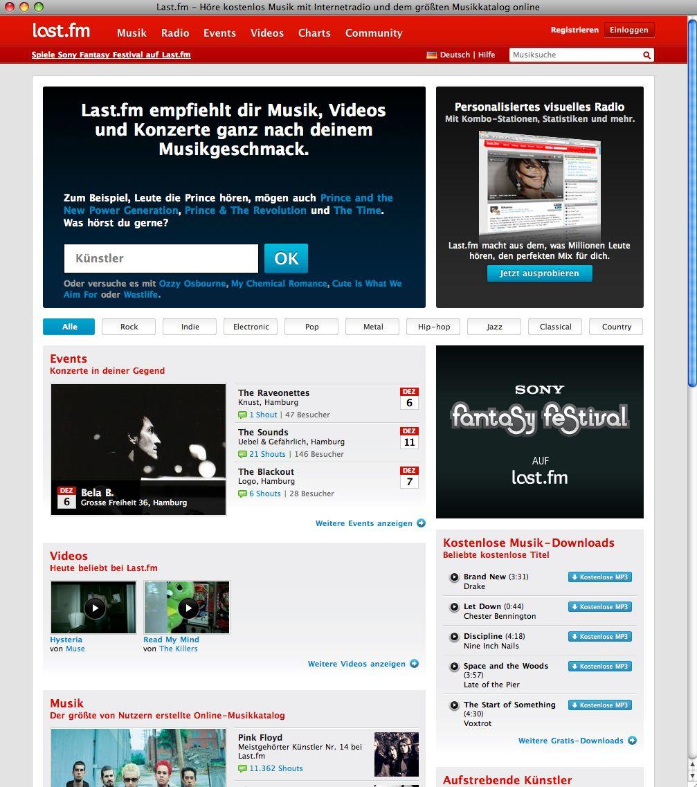 Screenshot LastFM / Musikindustrie