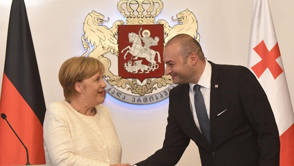 Angela Merkel und Mamuka Bachtadse