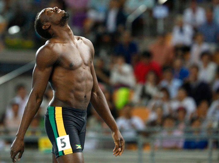 Usain Bolt nach seinem Fehlstart bei der Leichtathletik-WM 2011
