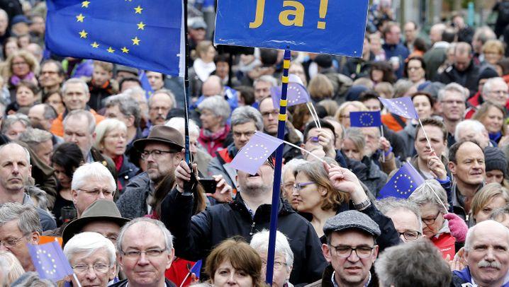 Demos für Europa: Blaues Sternenbanner bei Regenwetter