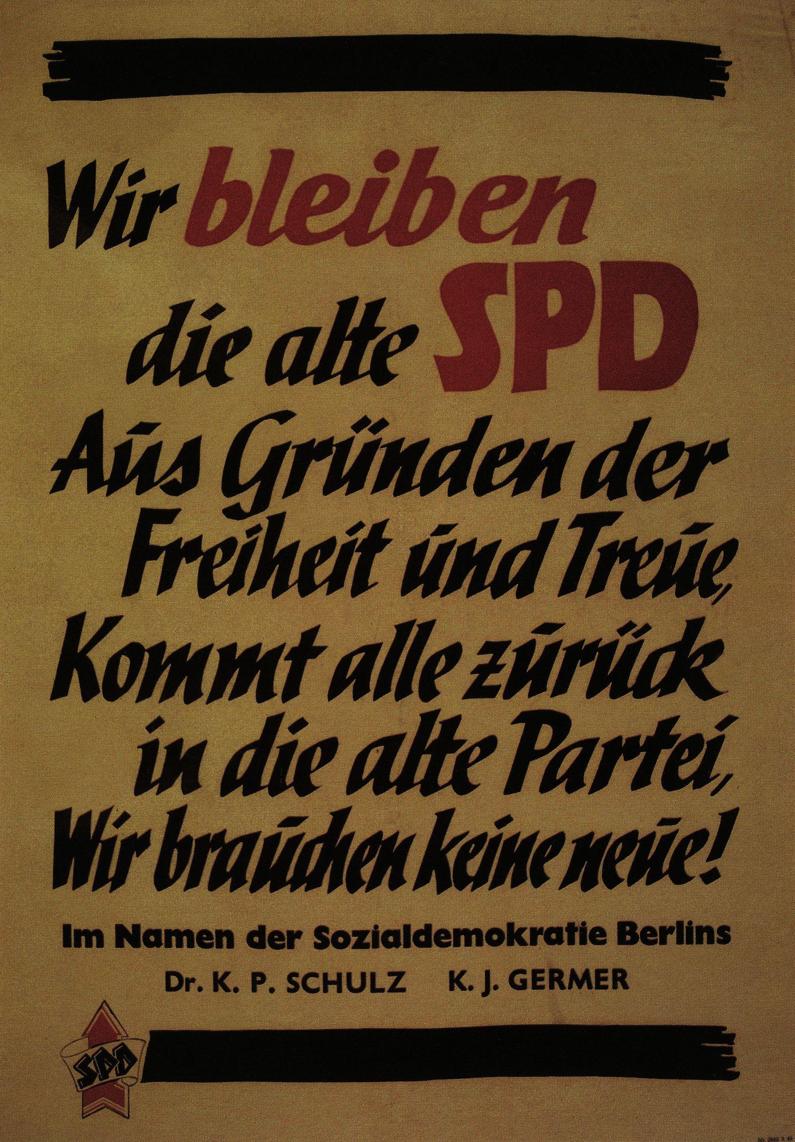 Plakat von Mitgliedern der SPD gegen die geplante Vereinigung von SPD und KPD zur SED