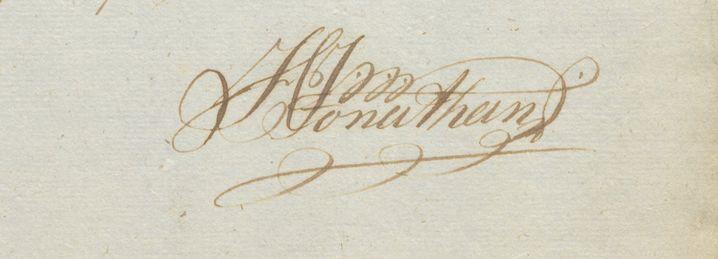 Hans Jonathans Unterschrift auf Unterlagen des Handelspostens Djúpivogur