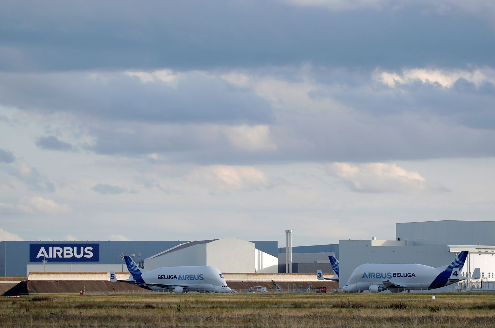 Airbus Beluga transport planes at the Airbus factory in Blagnac near Toulouse