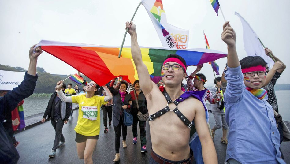 Aktivisten nutzten 2015 einen Marathon in Hangzhou im Osten Chinas zu einem Protest für die Rechte Homosexueller