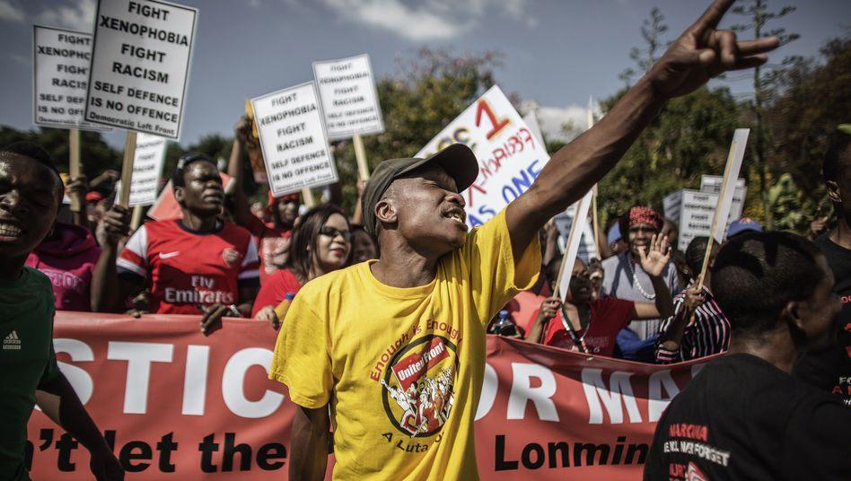 Demonstration für die Nachbarn: Die meisten Einwanderer kommen aus anderen afrikanischen Ländern