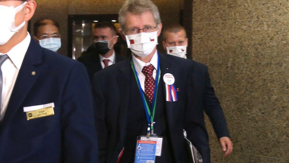 Milos Vystrcil bei seiner Ankunft in Taiwans Hauptstadt Taipeh