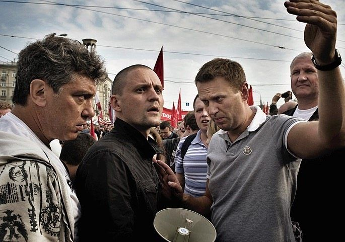 Navalny and other opposition leaders are seen in this photo during a protest against Putin's return to the Kremlin in 2012.