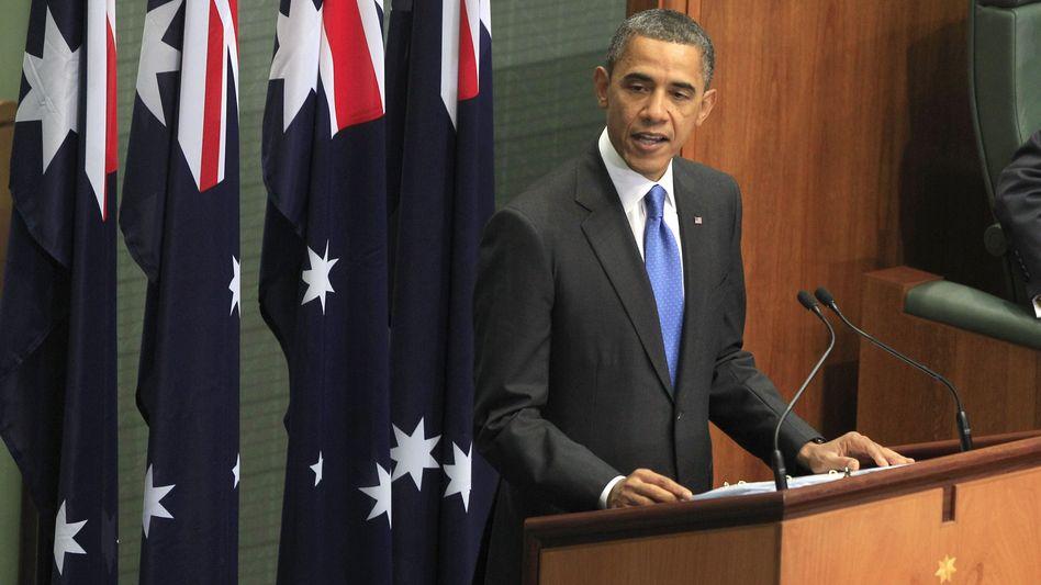 """US-Präsident Obama im australischen Parlament: """"Präsenz hat höchste Priorität"""""""