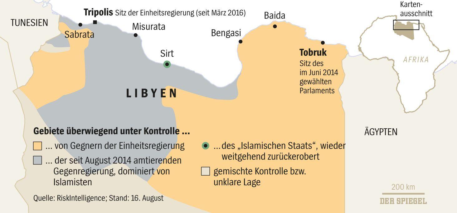 EINMALIGE VERWENDUNG Libyen Karte / 15.09.16