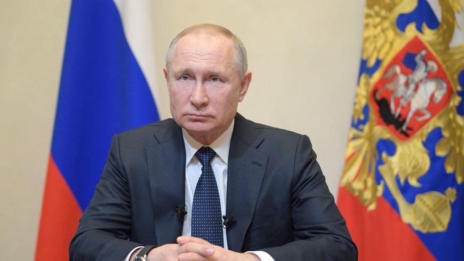 Kremlchef Wladimir Putin (bei einer Fernsehansprache am 25. März)