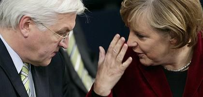 Steinmeier, Merkel (2006): Kontrollierter Konflikt
