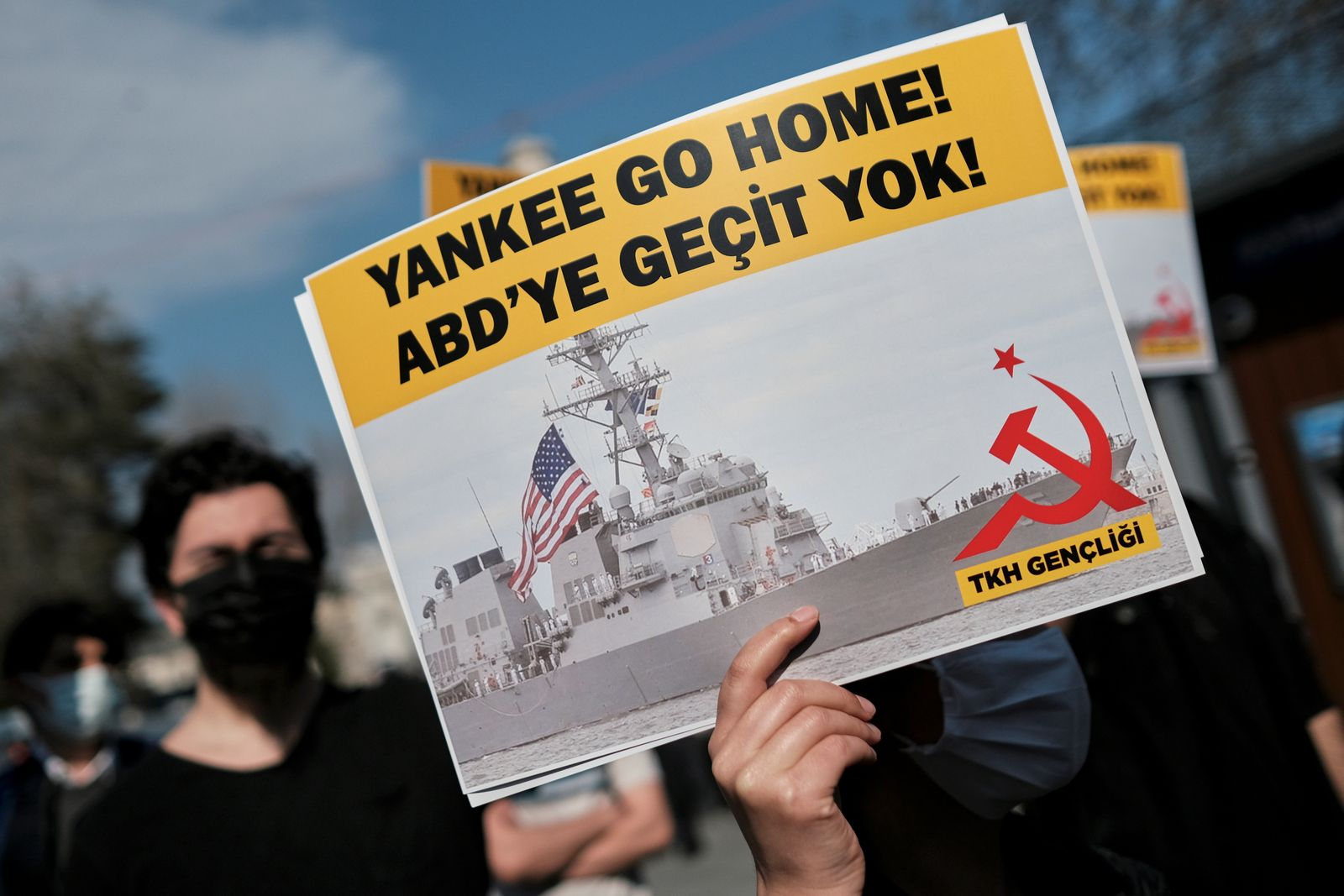 Protest against a U.S. plans to send warships to the Black Sea, in Istanbul