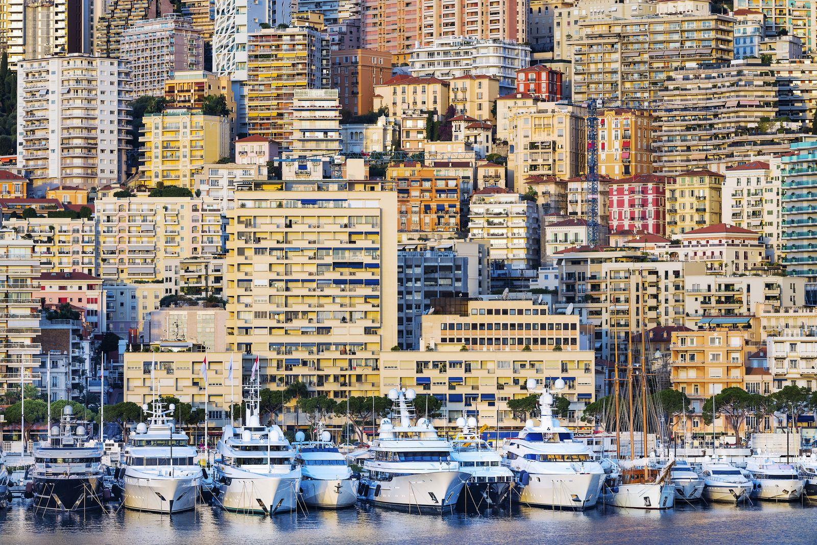 Dense apartment buildings and yachts in Port Hercules in Monaco.