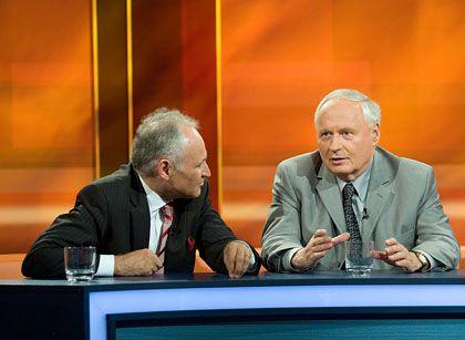 """Muppet Show""-Pärchen Huber (l.), Lafontaine bei ""Hart aber fair"": ""Wir petzen auch nicht"""