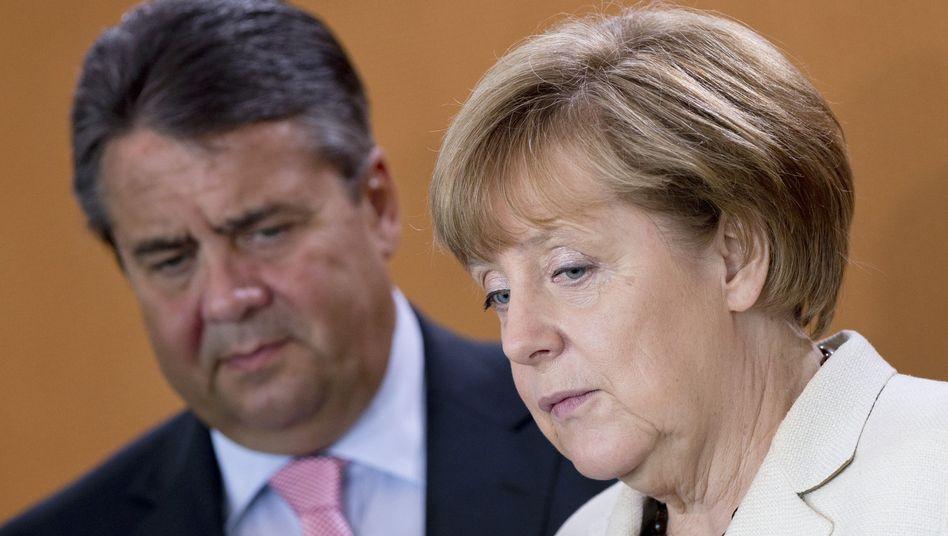 """SPD-Chef Gabriel, Kanzlerin Merkel: """"Wir lassen uns nicht erpressen"""""""