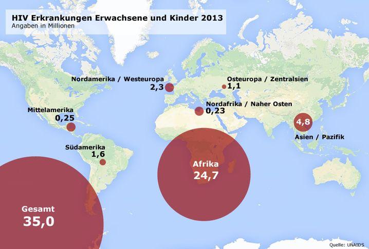Zahl der HIV-Infektionen weltweit: Für Großansicht bitte klicken