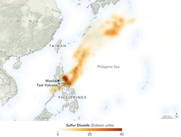 Schwefeldioxid-Konzentration am 13. Januar 2020: Die Vulkanwolke kann kilometerweit ziehen