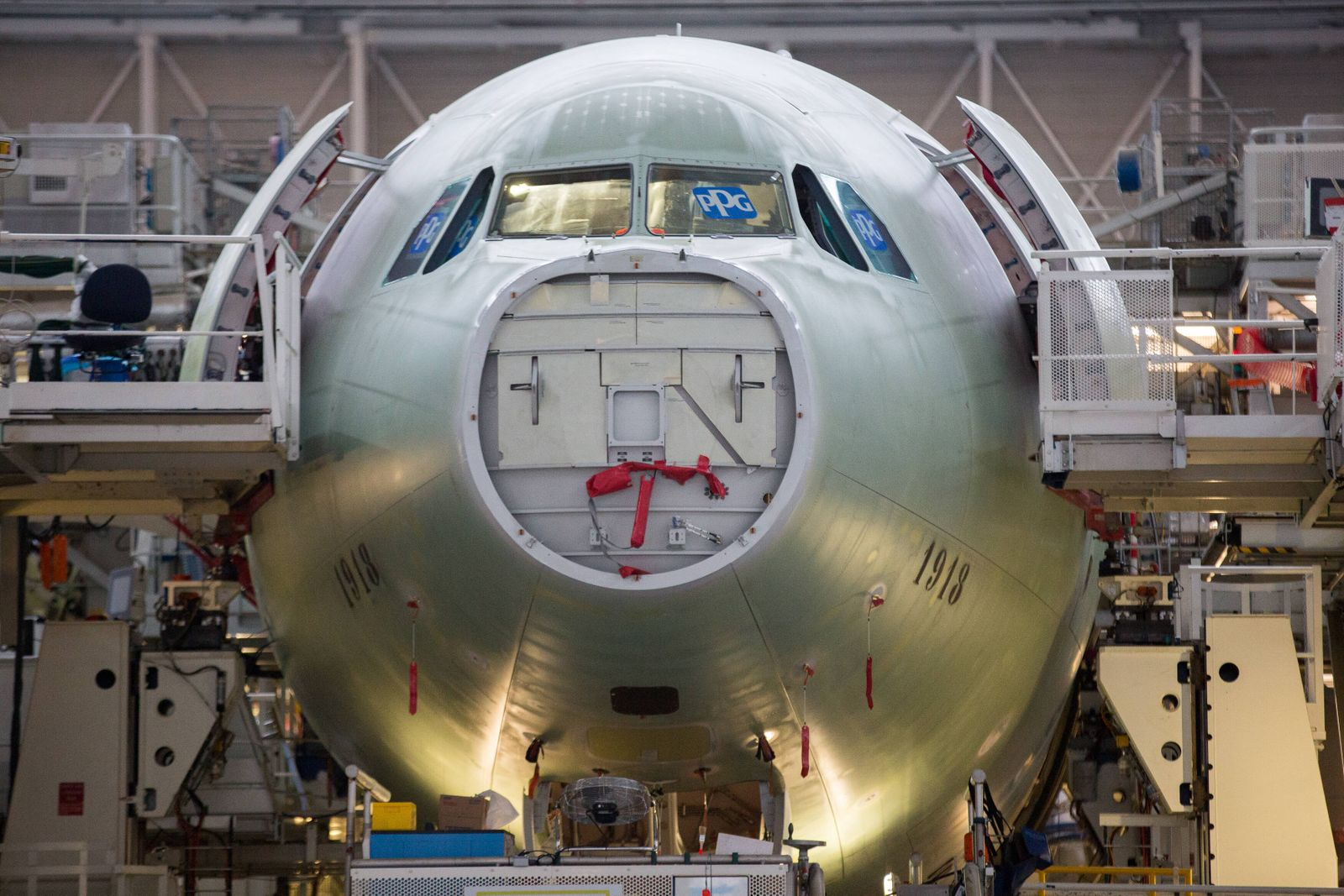 FRANCE - INDUSTRY - ECONOMY - PLANES - AIRBUS A330 aircraft assembly line produced by the European airline Airbus. Nove