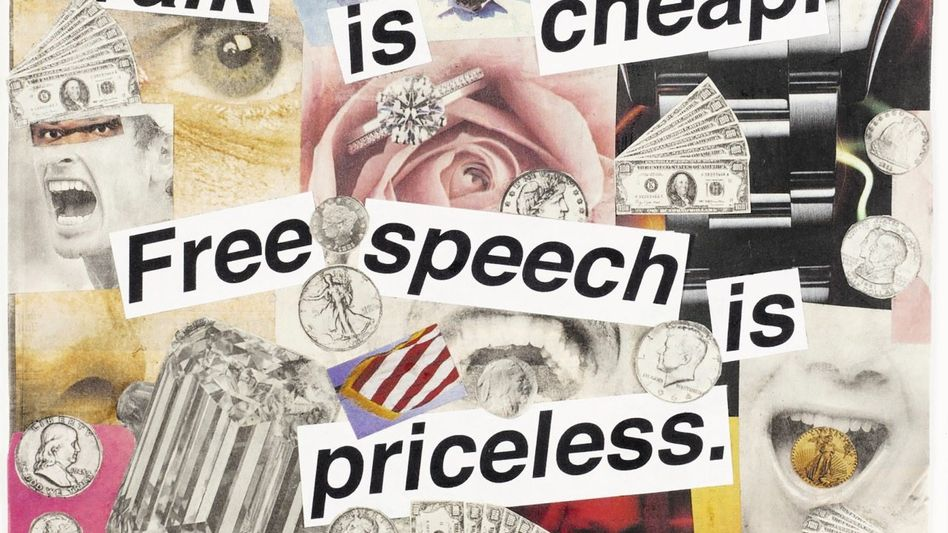 Barbara Kruger, Untitled (Talk is cheap. Free speech is priceless.), 2011