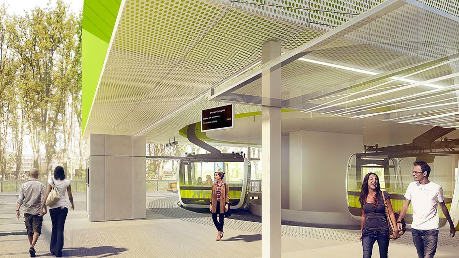 Zukünftige Seilbahn in Toulouse (Entwurf)