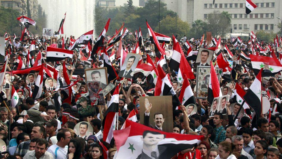 Demonstration in Damaskus: Unterstützung für Staatschef Assad