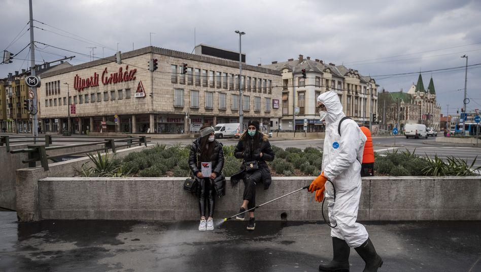 Behördenmitarbeiter desinfizieren Straßenzüge in Budapest (Symbolbild)
