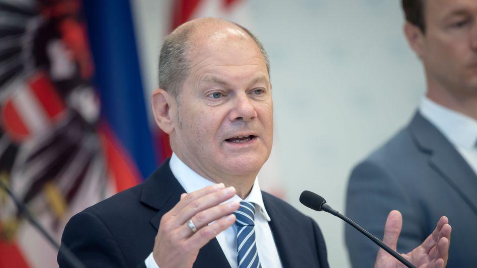 Olaf Scholz bei einer Pressekonferenz in Wien (Archiv)