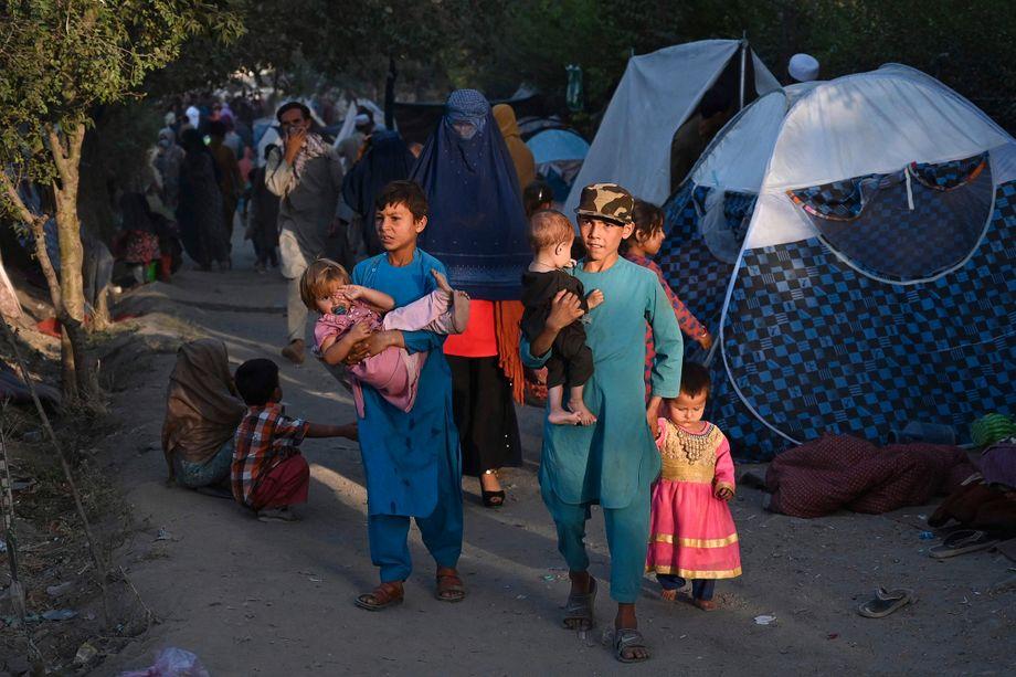 Diese Familie aus Kunduz floh am 11. August vor der Belagerung durch die Taliban aus der Stadt, wie Tausende andere Bewohner