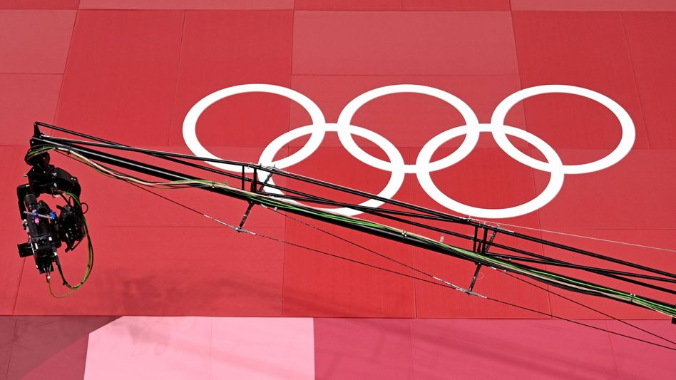 Die olympischen Ringe im Nippon Budokan, wo die Jodukämpfe stattfinden. Fethi Nourine wird hier nicht antreten