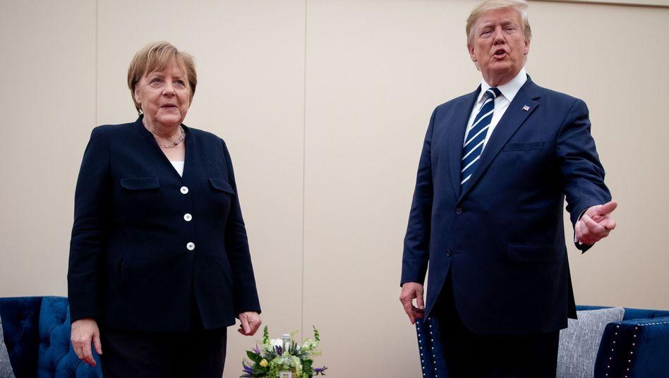 Angela Merkel und Donald Trump in Portsmouth