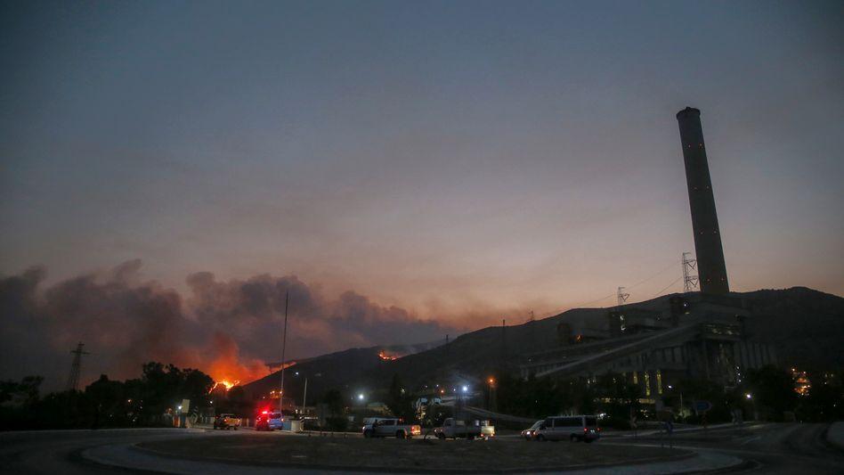 Feuer beim Kohlekraftwerk Kemerkoy im Südwesten der Türkei