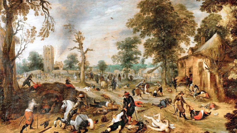 Plünderung eines Dorfes Zeitgenössisches Gemälde von Sebastian Vrancx