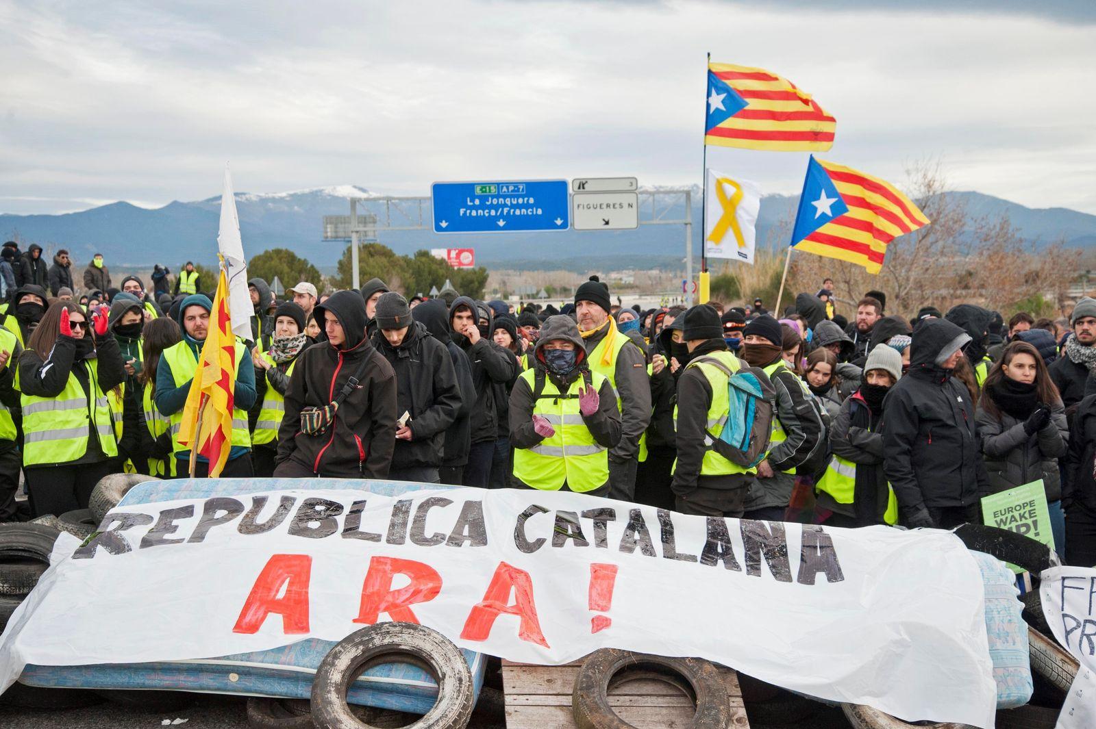EINMALIGE VERWENDUNG Puigdemont/ Festnahme/ Katalonien/ Protesst