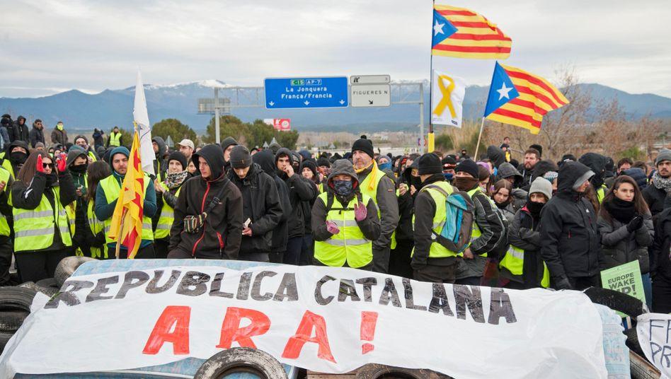 Straßenblockade in Katalonien
