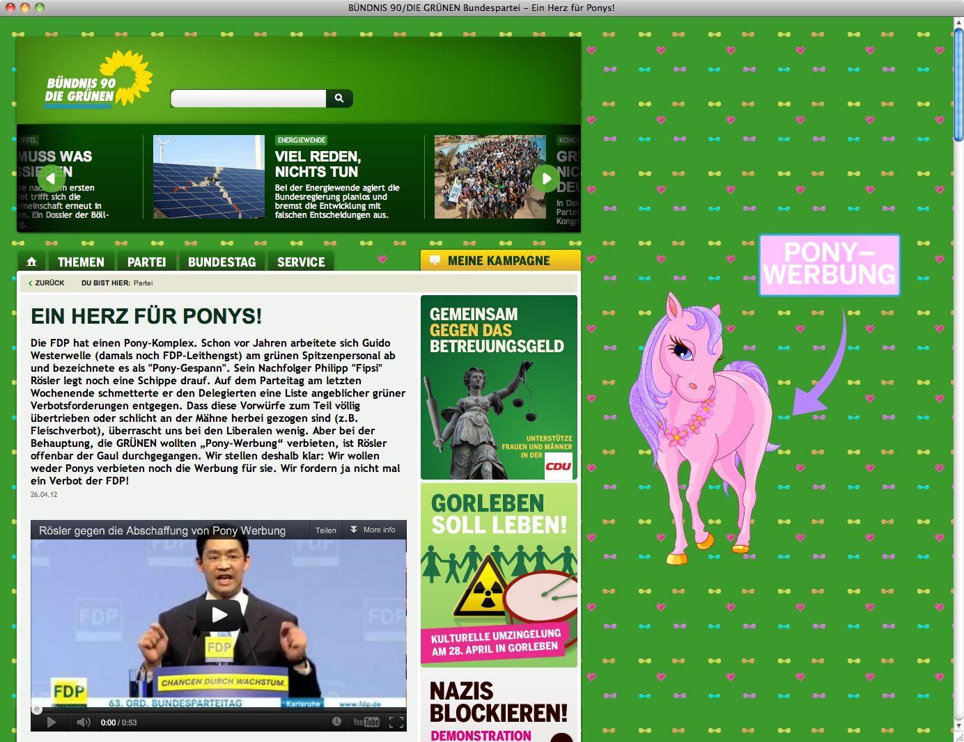 """NUR ALS ZITAT Screenshot Grüne / """"Ein Herz für Ponys"""""""