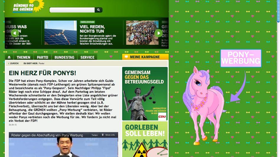 """Screenshot von Grünen-Website: """"Ein Herz für Ponys"""""""