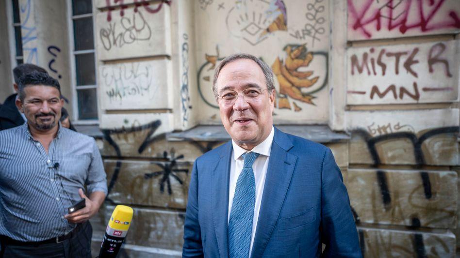 Unions-Kanzlerkandidat Laschet Ende August in Berlin-Neukölln