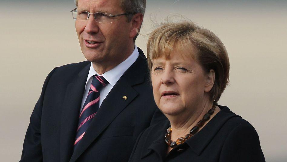 """Präsident Wulff, Kanzlerin Merkel: """"Wertesystem für Orientierung geeignet"""""""