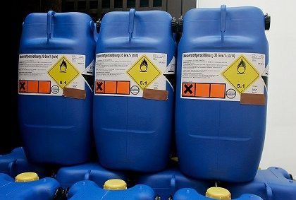 Containers for storing chemicals used by the suspected terrorists in their plot to build bombs.