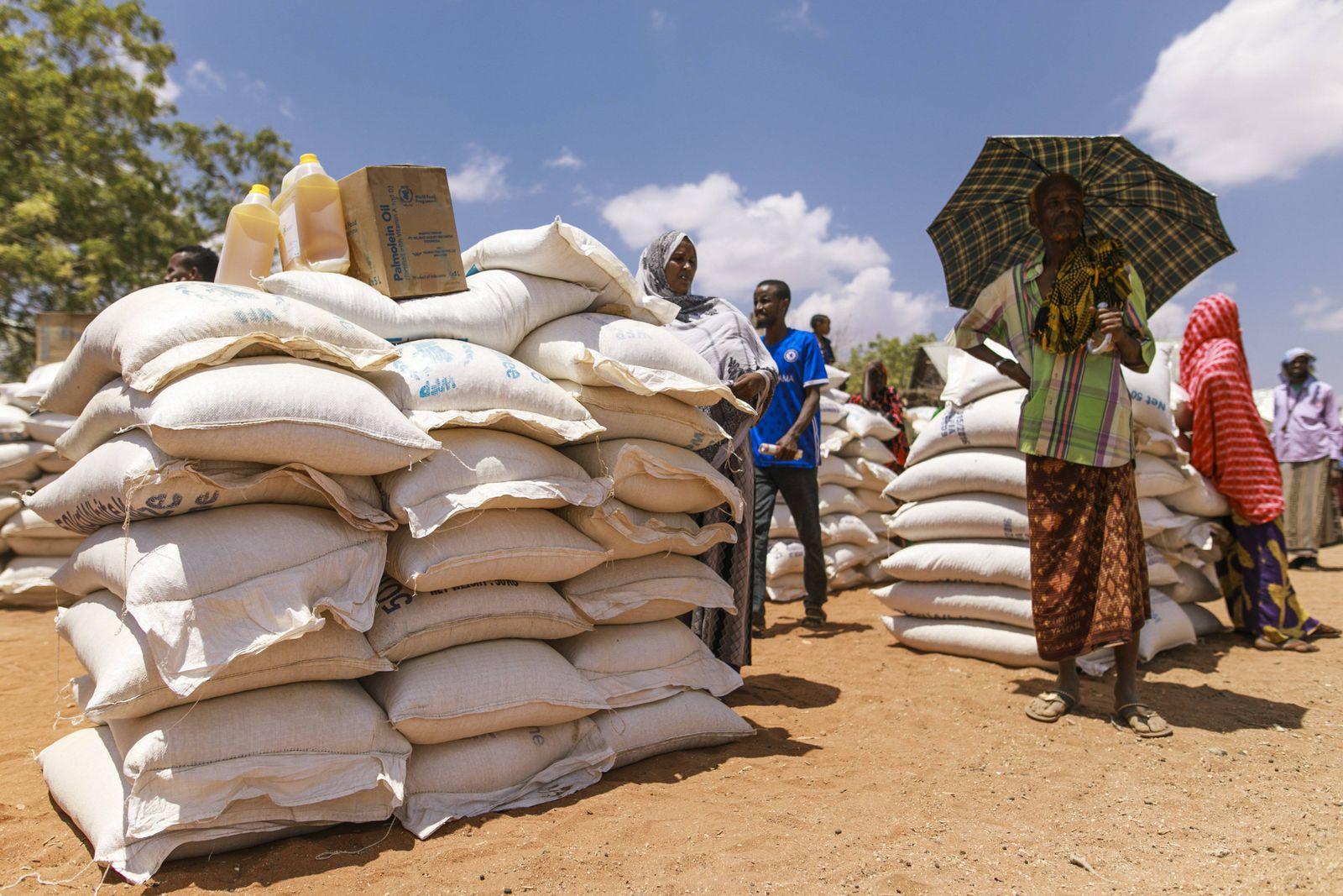 Bewohner eines Dorfes in der Somali Region in Aethiopien, in dem sich Pastorale (Aethiopische Nomaden) wegen der anhalt