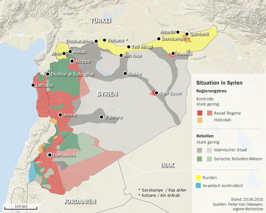Karte IS Syrien Stand 23.6.2015 - PLUS kurdische Städte