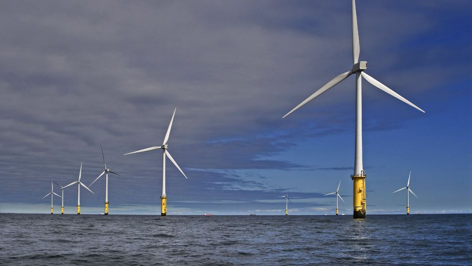 An offshore wind park operated by RWE Innogy off the coast of North Wales. Similar projects off the German coast are at risk, experts warn.