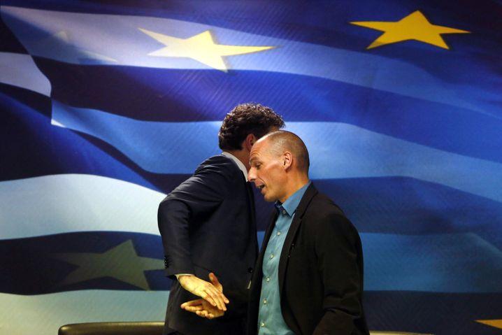 Euro-Gruppen-Chef Dijsselbloem (verdeckt), Varoufakis: Eisige Stimmung