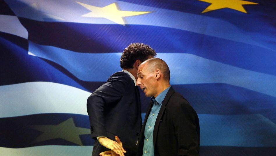 Dijsselbloem (links), Varoufakis: No love lost in Athen