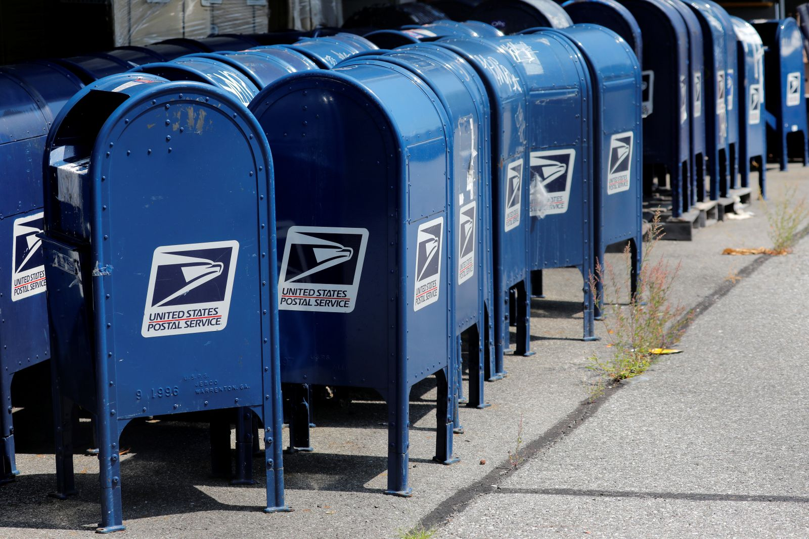 United States Postal Service (USPS) mailboxes are seen stored outside a USPS post office facility in the Bronx New York