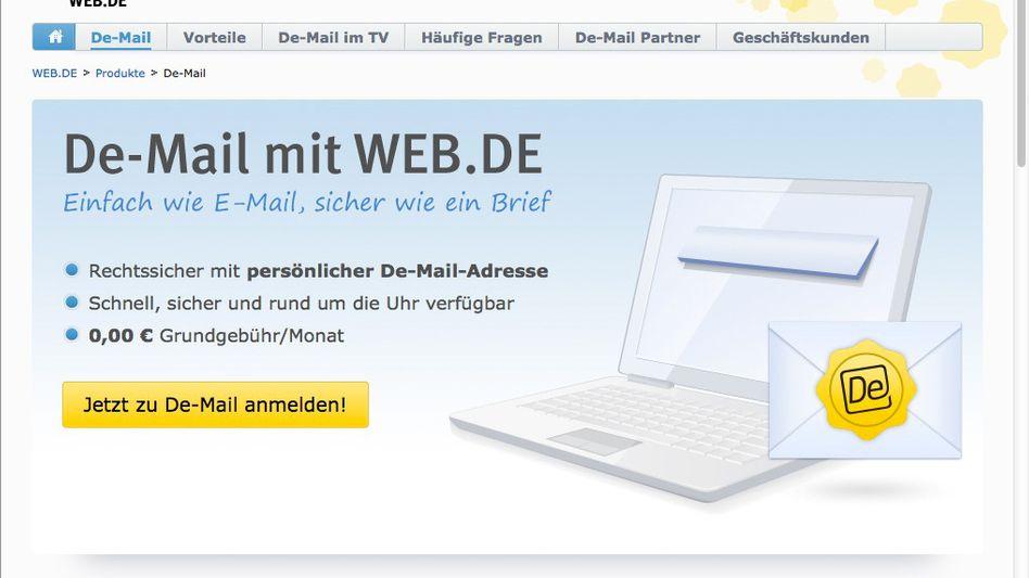 """Werbung für """"De-Mail mit Web.de"""": Kompliziert, teuer, unsicher"""